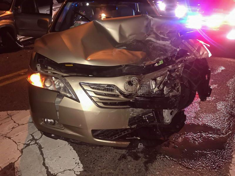 Car crash accident at intersection on street. Car crash accident at intersection on street, damaged automobiles after collision in Jackrabbit Trail, Buckeye royalty free stock photo