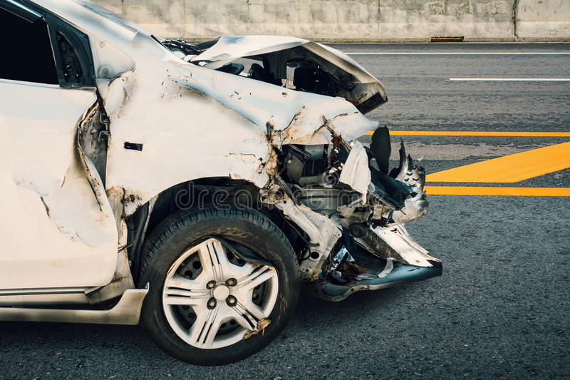 Car crash accident. On the road royalty free stock image