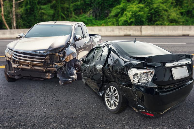 Car crash accident on the road royalty free stock image
