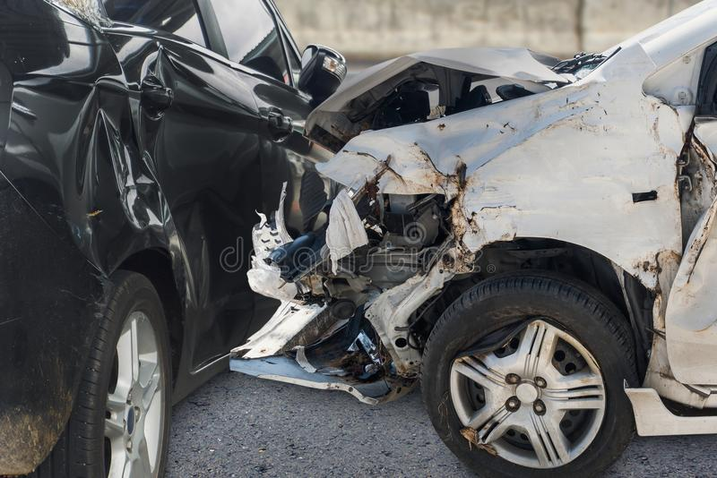 Car crash accident on the road royalty free stock photos