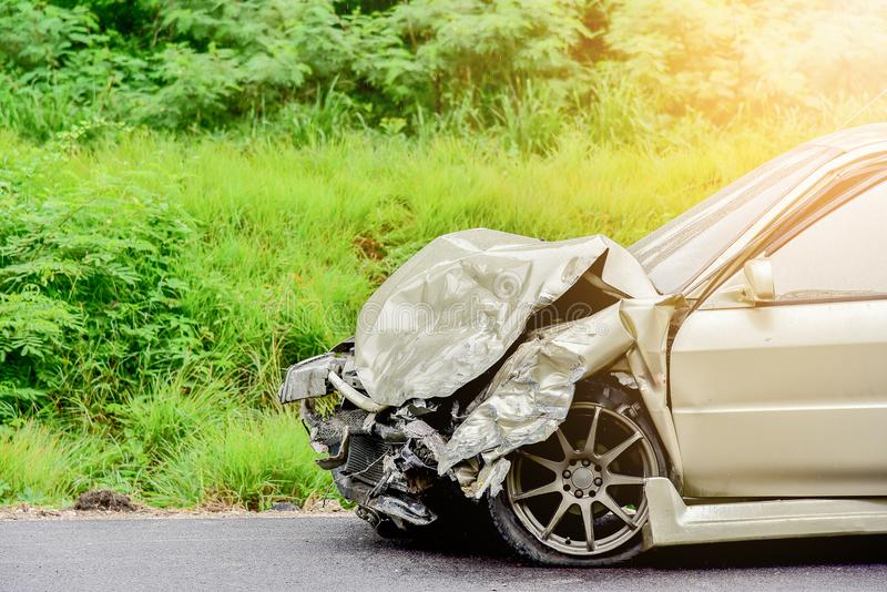 Car crash on road royalty free stock photography
