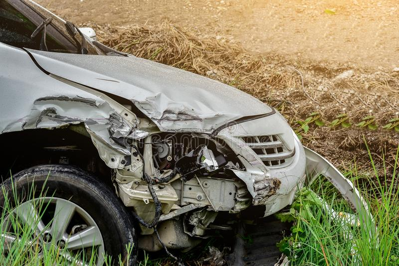 Car accident out of the road royalty free stock photo