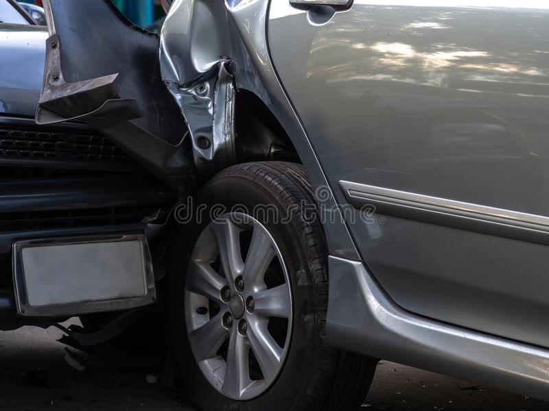 Car crash accident on street with wreck and damaged automobiles. Accident caused by negligence And lack of ability to drive. Due t. O illness stock photos