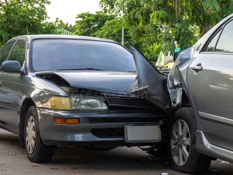 Car crash accident on street with wreck and damaged automobiles. Accident caused by negligence And lack of ability to drive. Due t. O illness royalty free stock photos