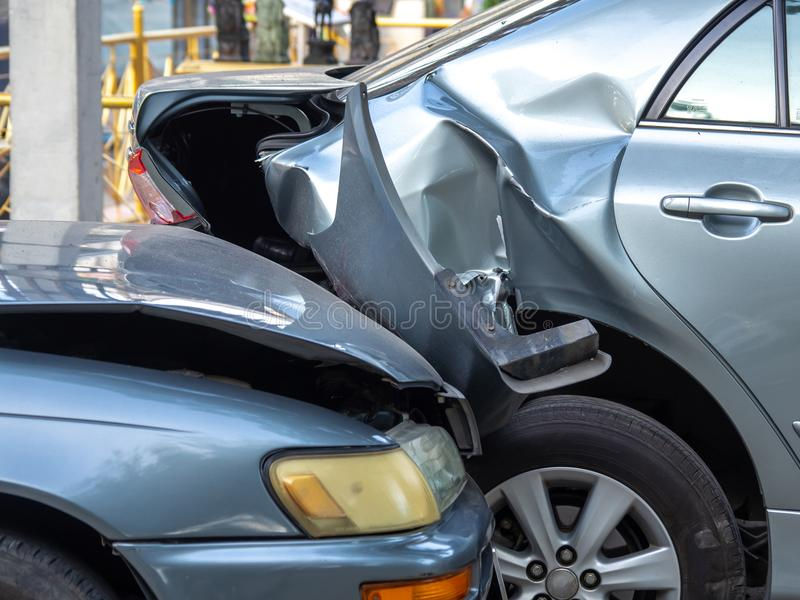 Car crash accident on street with wreck and damaged automobiles. Accident caused by negligence And lack of ability to drive. Due t. O illness royalty free stock photography