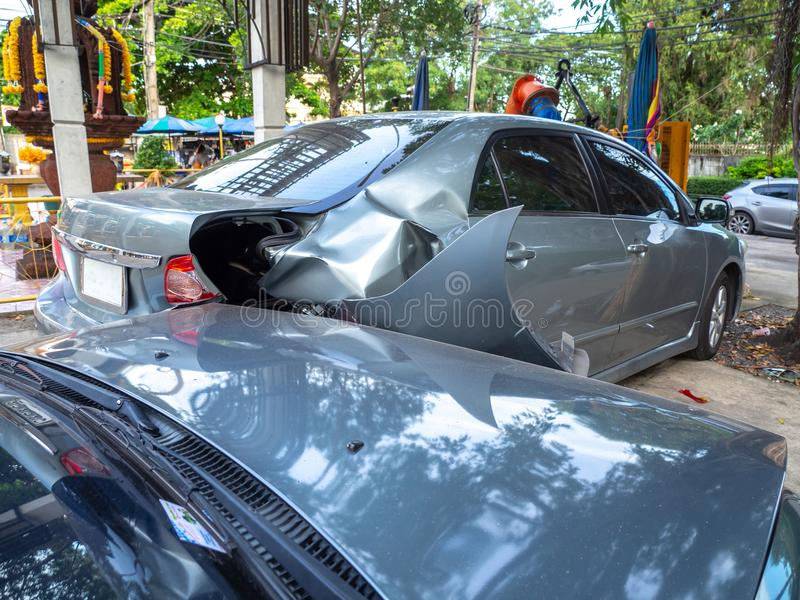 Car crash accident on street with wreck and damaged automobiles. Accident caused by negligence And lack of ability to drive. Due t. O illness stock photo