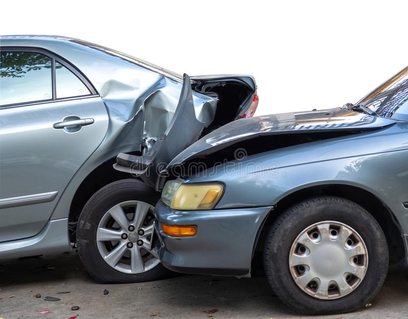 Car crash accident on street with wreck and damaged automobiles. Accident caused by negligence And lack of ability to drive. DueCa. Car crash accident on street royalty free stock images