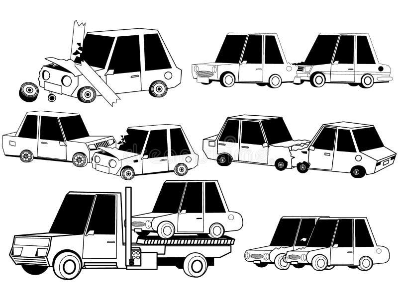Car crash accidents by stripe line stock illustration
