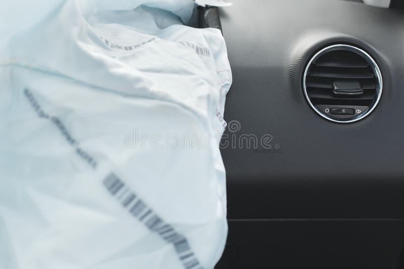 Car Crash air bag, blue, inscription airbag. The airbag is fired during the accident. Blue. The inscription airbag and the sticker on the panel stock photo