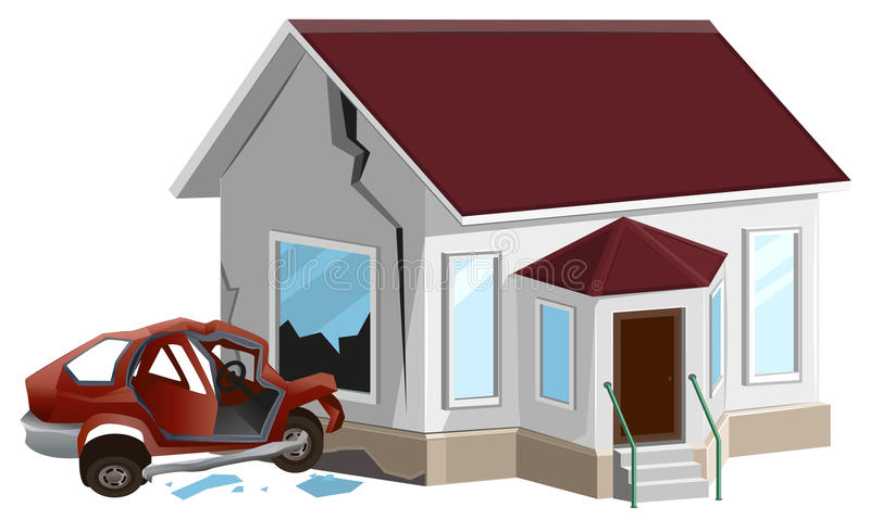 Car crash. Auto crashed into wall at home. Property insurance. Illustration in vector format royalty free illustration