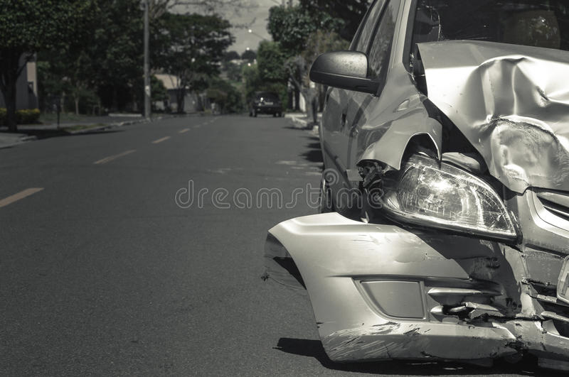 Car crash background. Car after collision with another car with damaged front stock photo