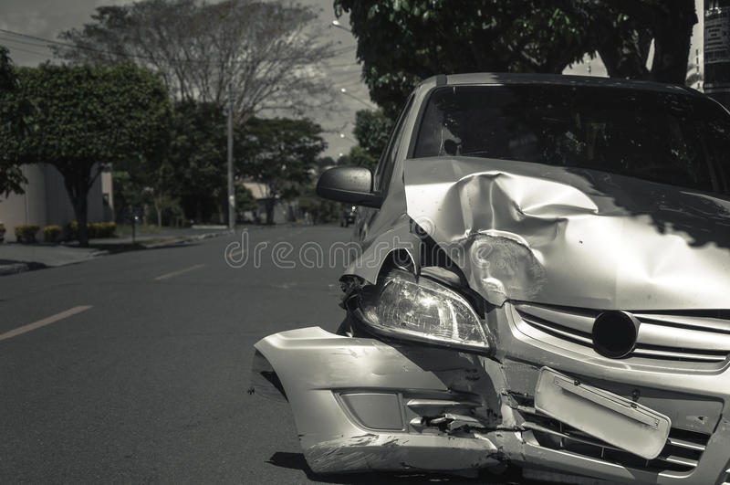 Car crash background. Car after collision with another car with damaged front royalty free stock images