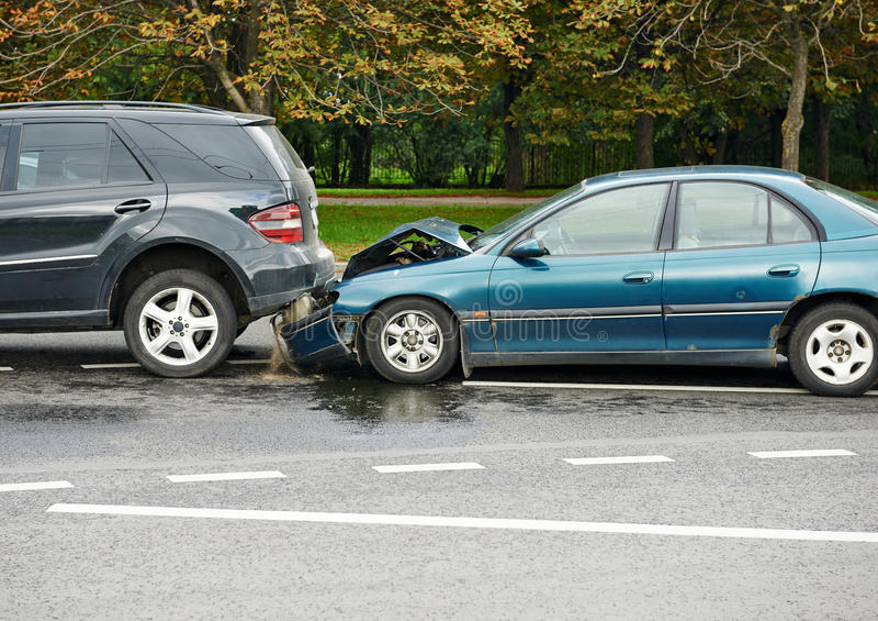 Car crash collision in urban street royalty free stock photography