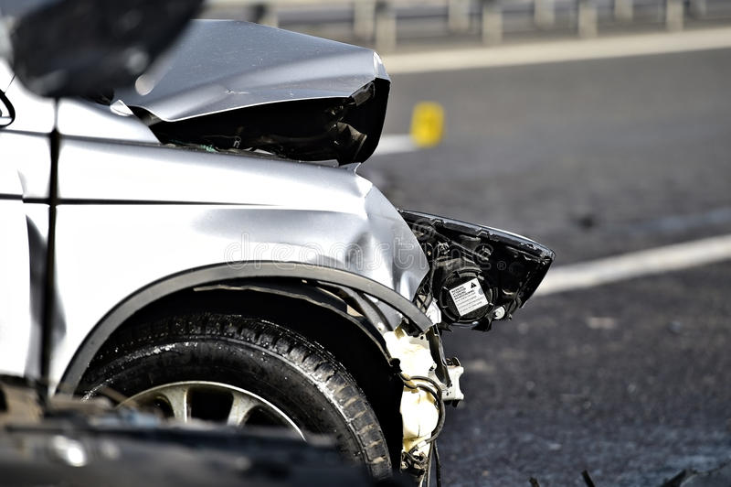 Car crash detail with damaged automobile. Detail with damage automobile after a car crash accident royalty free stock image