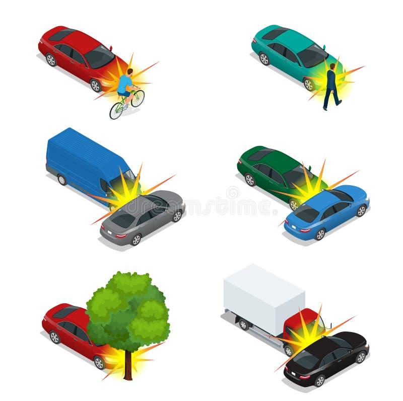 Car crash, emergency disaster. Auto accident involving car crash city street. Flat 3d vector isometric illustration royalty free illustration