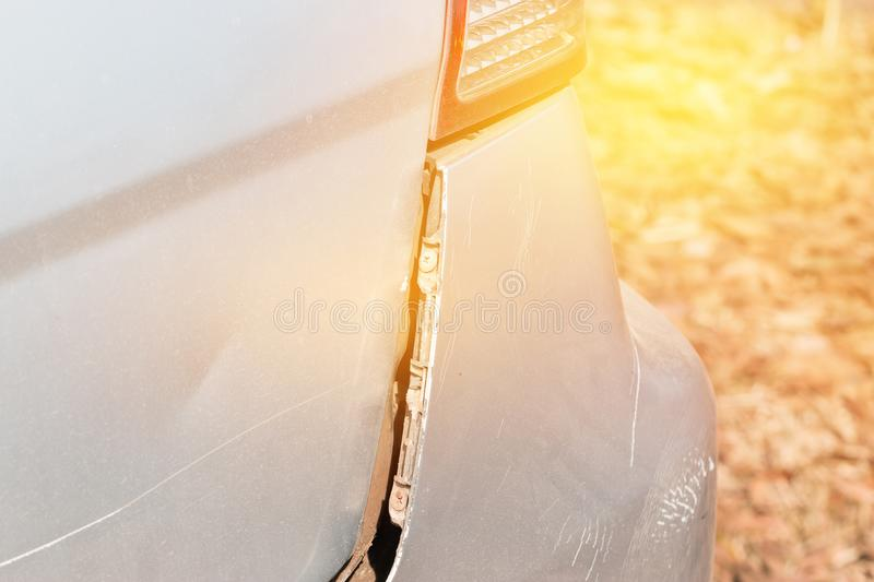 Car crash get damaged by accident on road stock photos