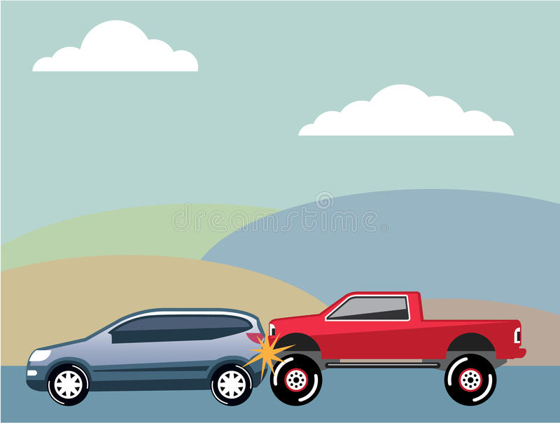 Car crash rear ended vehicle Vector stock illustration