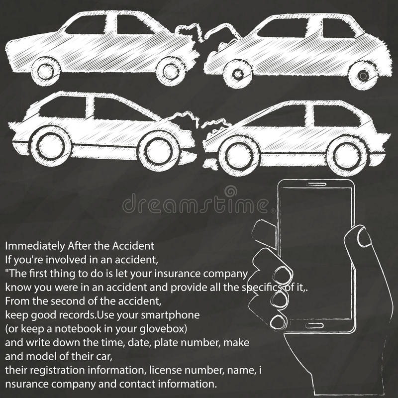 Car Crash TAKE A Photo HAND DRAWING BY Chalk Stock Vector ...