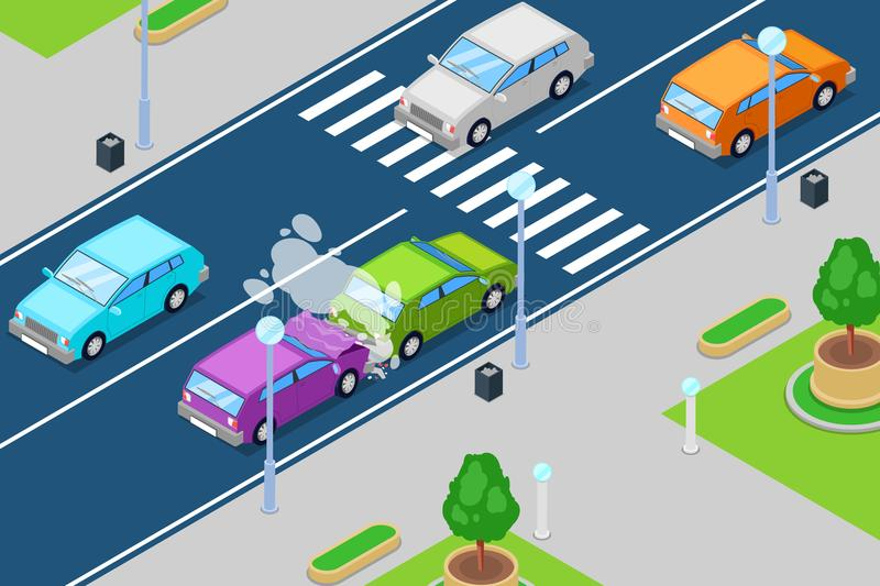 Car crash, vector isometric 3D illustration. Accident in front of crosswalk. Safety traffic, road insurance concept vector illustration