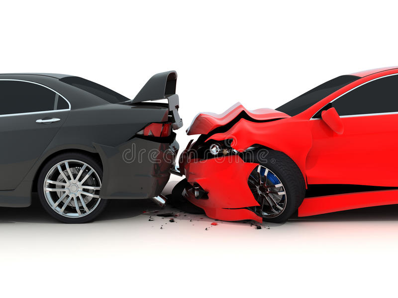 Car crash. On white background (done in 3d