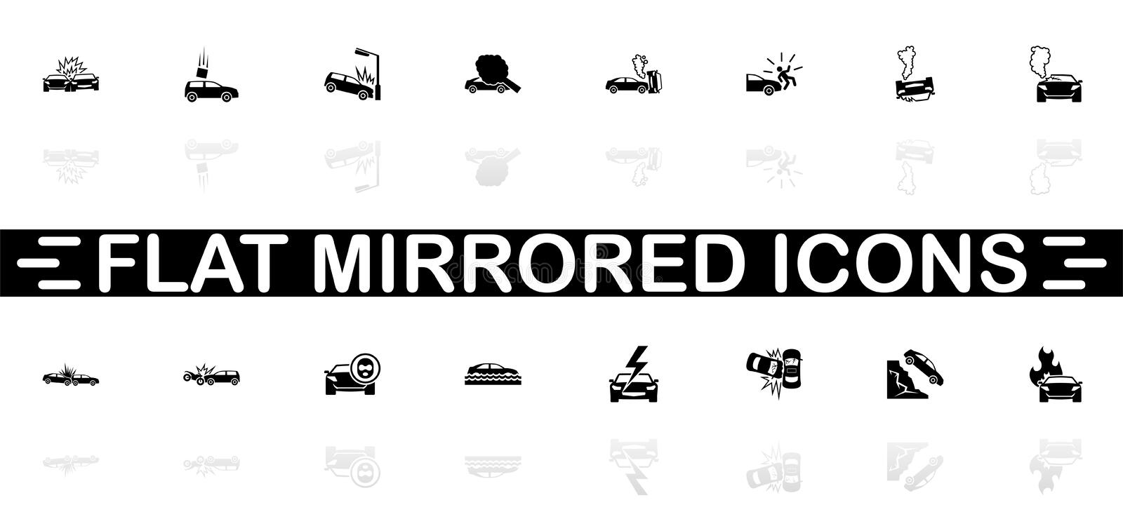 Car Crashes - Flat Vector Icons. Car Crashes icons - Black symbol on white background. Simple illustration. Flat Vector Icon. Mirror Reflection Shadow. Can be stock illustration
