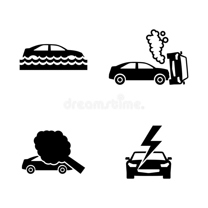 Car Crashes. Simple Related Vector Icons Stock Vector - Illustration ...