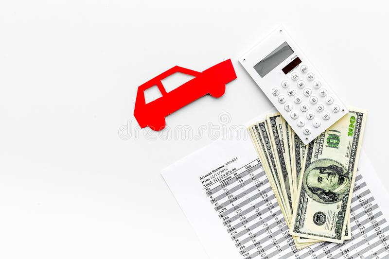 Car credit concept on white background top view copy space. Car credit concept on white background top view stock image