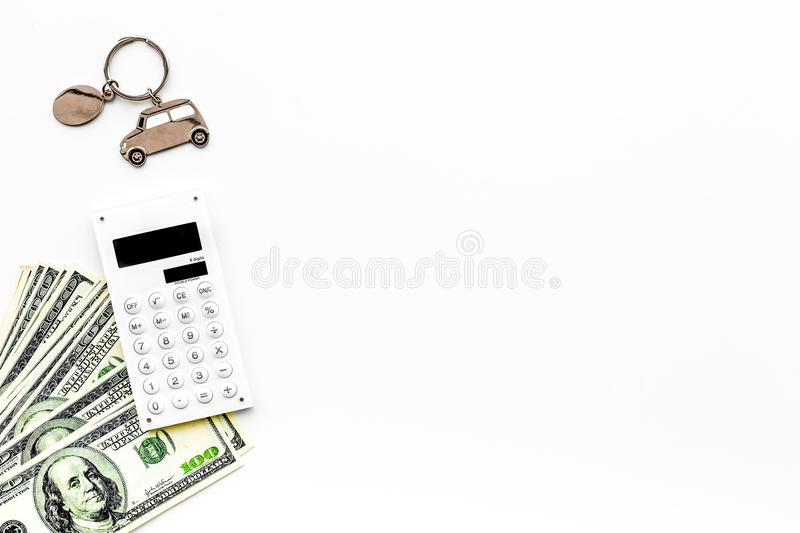 Car credit concept on white background top view copy space. Car credit concept on white background top view royalty free stock image