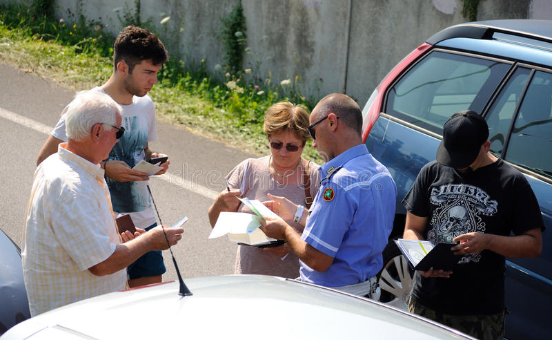Car crush accident. July 20, 2013, Italy: Car crush accident and agent check the documents car registration royalty free stock photos