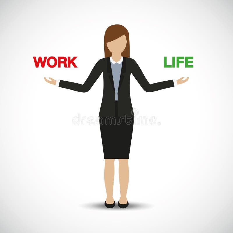 Car?cter de la mujer de negocios de la balanza de la vida del trabajo ilustración del vector