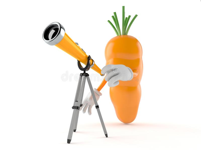 Car?cter de la zanahoria que mira a trav?s de un telescopio stock de ilustración