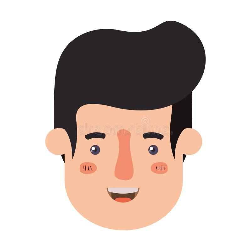 Car?cter del avatar de la cabeza del hombre joven ilustración del vector