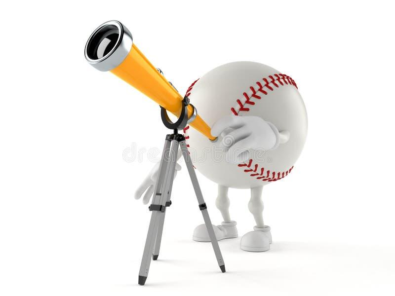 Car?cter del b?isbol que mira a trav?s de un telescopio stock de ilustración