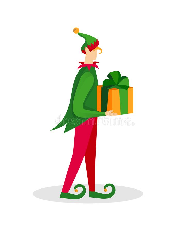 Car?cter del duende de la Navidad Muchacho en traje verde ilustración del vector