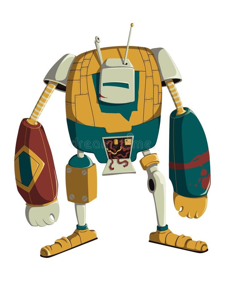 Car?cter del robot de la historieta Tecnolog?a, futuro Concepto de dise?o de la inteligencia artificial Aislado en el fondo blanc ilustración del vector