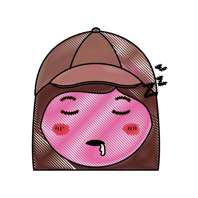 Car?cter dormido del kawaii de la mujer principal de la historieta ilustración del vector