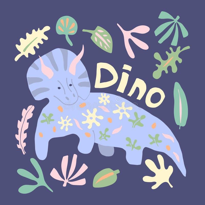 Car?cter exhausto del vector del dinosaurio de la mano linda del color stock de ilustración
