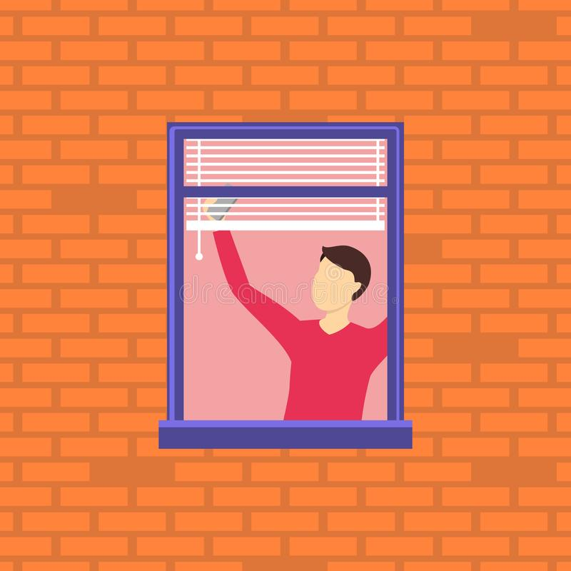 Car?cter vecino de la historieta en la ventana Vector stock de ilustración