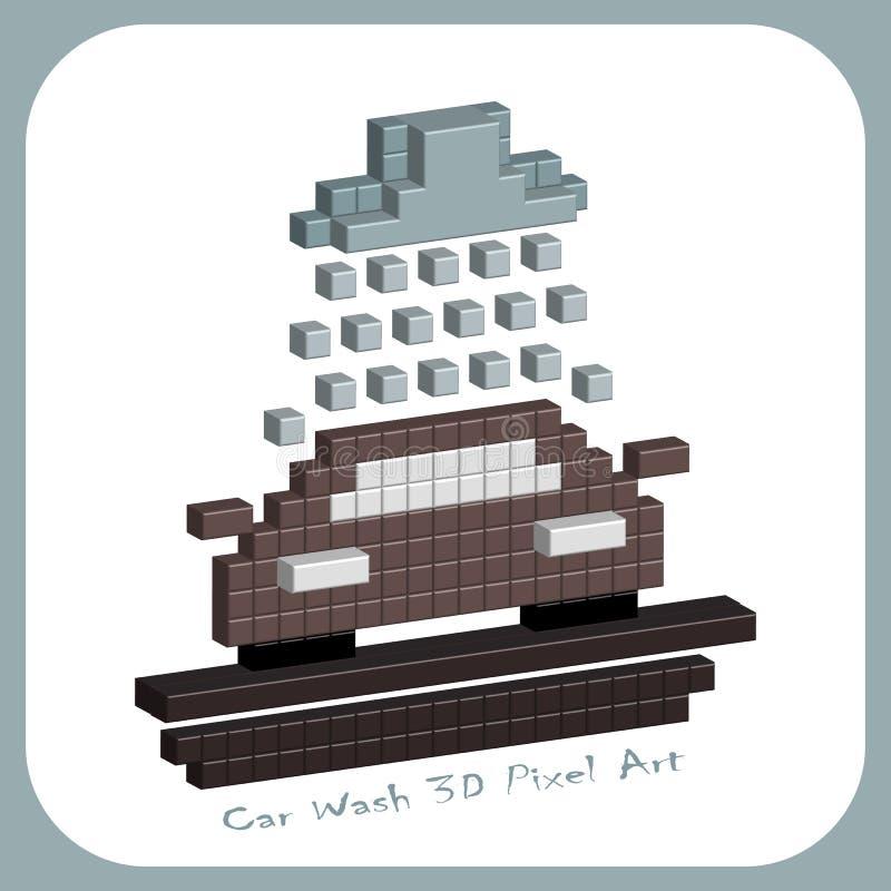 Car, 3D Pixel Art, 8 bit background for design royalty free illustration