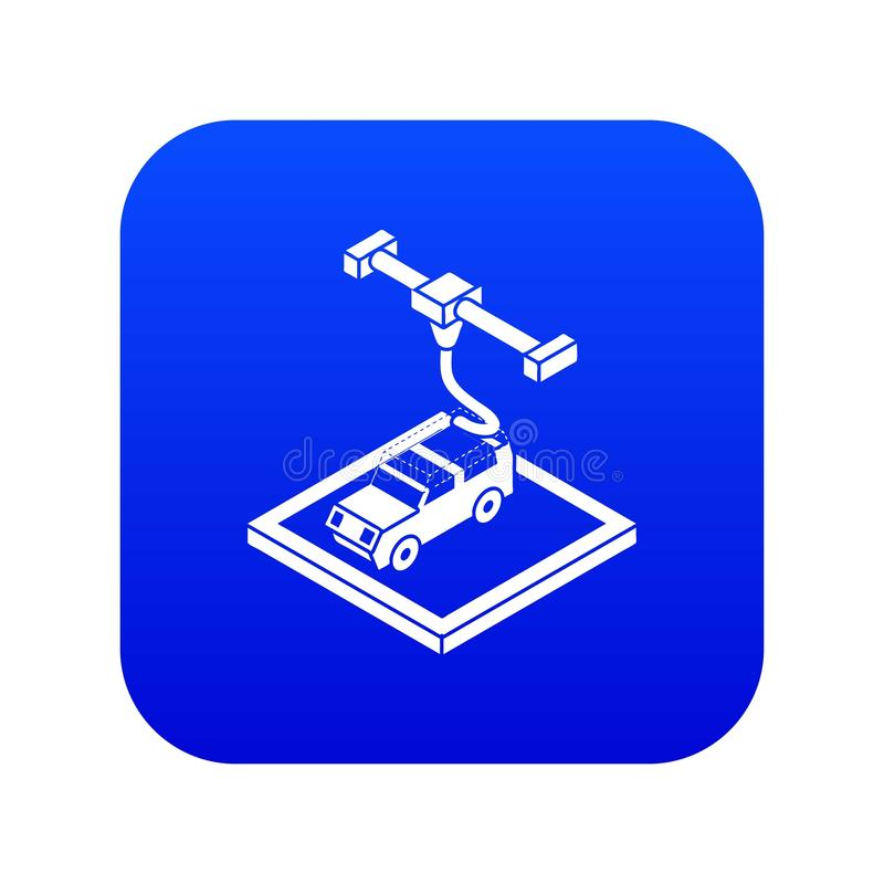 Car d printing icon blue vector. Isolated on white background royalty free illustration