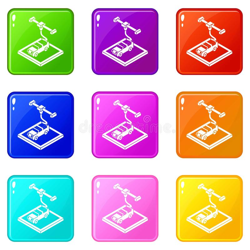 Car d printing icons set 9 color collection. Isolated on white for any design stock illustration