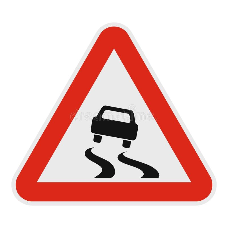 Car on dangerous road icon, flat style. stock illustration