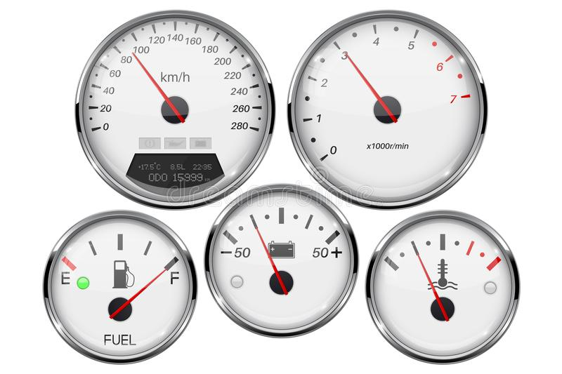 Car dashboard 3d gauges. Speedometer, tachometer, fuel gauge, temperature and accumulator charge device. Vector illustration isolated on white background vector illustration