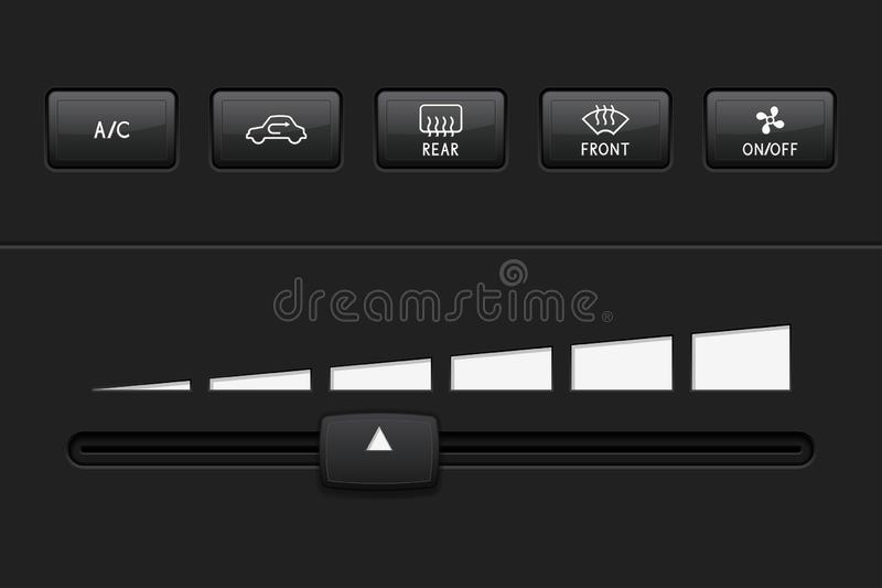 Car dashboard elements with black push buttons and level slider. Vector 3d illustration vector illustration