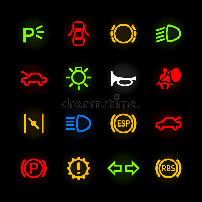 Car Dashboard Icons Stock Vector Illustration Of Icon