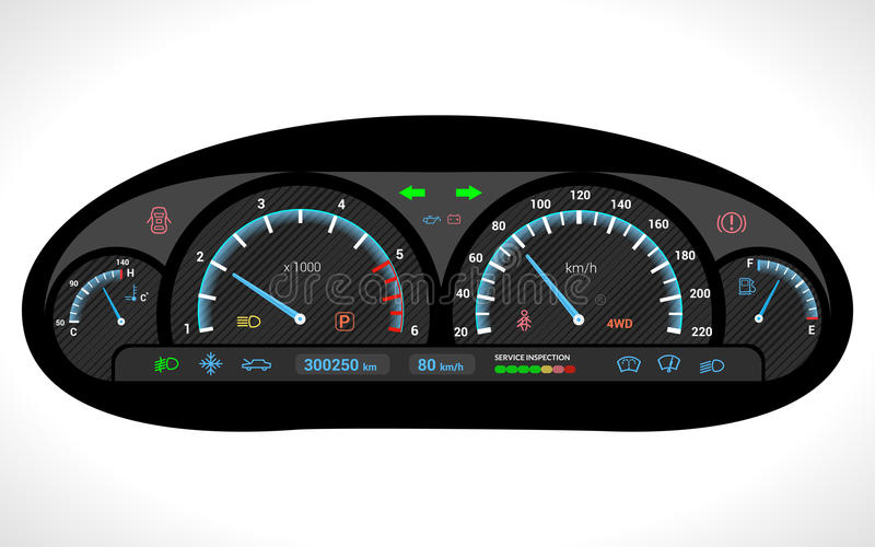 Car Dashboard Isolated Stock Vector Illustration Of Kilometer - Car image sign of dashboardcar dashboard icons stock images royaltyfree imagesvectors