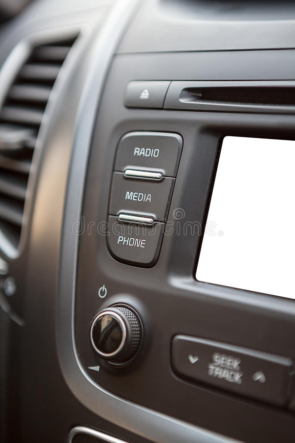 Car dashboard with isolated white lcd screen royalty free stock photos