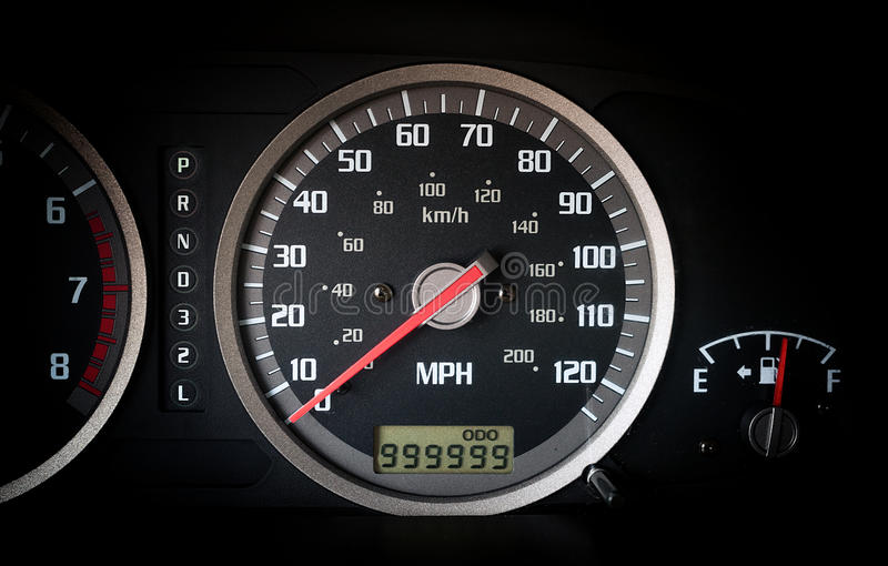 Car dashboard odometer with infinity miles. Car dashboard odometer with 999999 miles on it royalty free stock photo