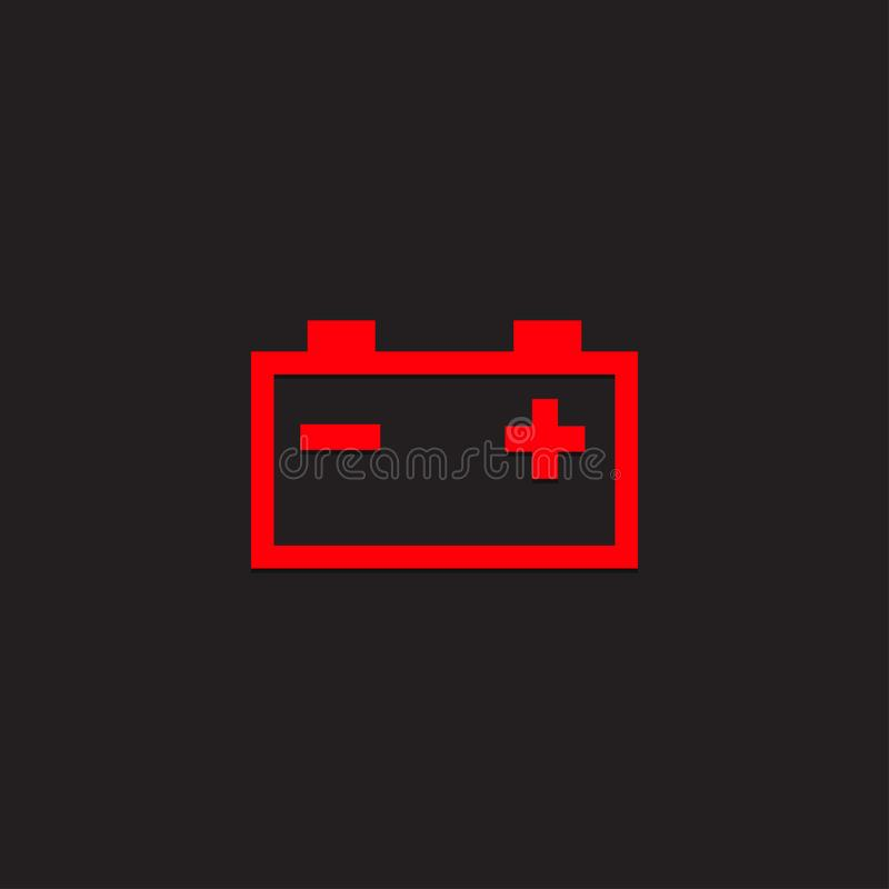Car dashboard panel icon on a black background. Battery charging indicator vector illustration