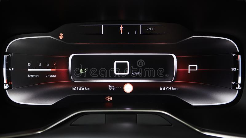 Car dashboard panel with speedometer, tachometer, odometer, fuel gauge and gear position indicator. Car dashboard panel with speedometer, tachometer, odometer royalty free stock photo